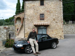 Frankie with Miata in Tuscany